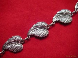 Danecraft Solid Sterling Silver Leaf Link Necklace