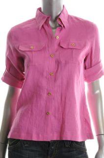 Lauren Ralph Lauren NEW Petite Button Down Shirt Pink Linen Sale Top