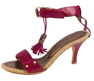 Red Leather Sandal Kitten Mid High Heels Womens Shoes