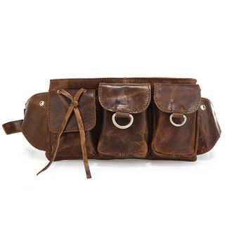 Vintage Leather Mens Brown Waist Bag Fanny Packs Purse Accessories