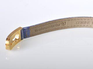 TechnoMarine Yellow Gold Diamond Leather Bracelet