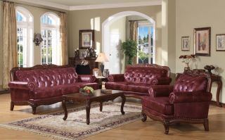 Traditional Burgundy Tufted Leather Sofa Loveseat Chair
