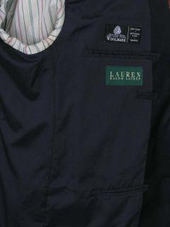 Ralph Lauren Blazer Navy Blue Brass Logo Buttons Wool 40s Perfect