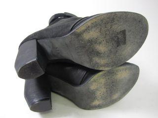 LD Tuttle Black Suede Deep Slouch Booties Sz 37 5 7 5