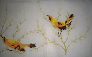 Vintage Leacock Linen Tablecloth Yellow Birds in Pussywillow Branches
