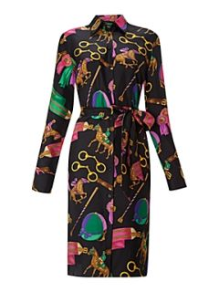 Lauren by Ralph Lauren Sana silk print shirt dress black multi