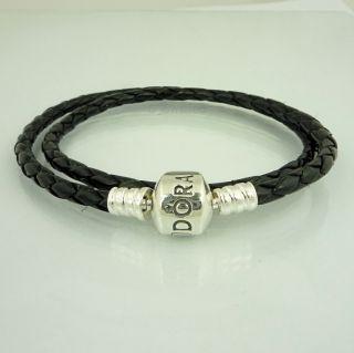 Authentic Pandora Black Leather Bracelet Double 35cm