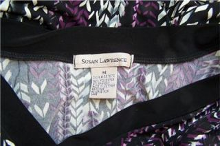 Susan Lawrence Sz M Medium Top Shirt Blouse Black Purple White Stretch