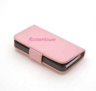 Flip Wallet Leather Case Cover Fits Apple iPhone 4 4S Free Screen