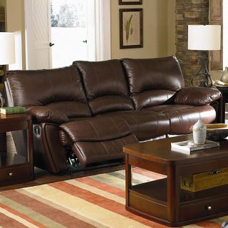 Clifford Brown Leather Double Reclining Sofa by Coaster