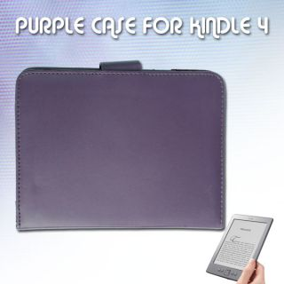 PURPLE LEATHER CASE COVER WALLET FOR  KINDLE 4 GENERATION