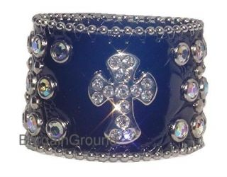 Rhinestone Black Cross Croco Leather Cuff Bracelet