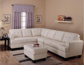 Samuel Contemporary Cream Tufted Leather Sectional Sofa