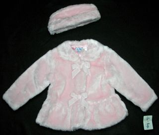 Le Top Velvet Angel Pink Faux Fur Coat Hat Set 4 6