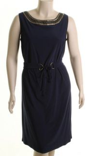 Le BOS New Navy Embellished Jersey Sleeveless Wear to Work Dress Plus