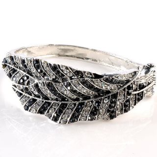 Tone Black Clear Crystal Leaf Hinged Bracelet Bangle Jewelry
