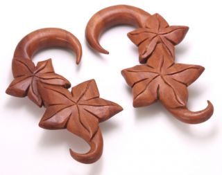 Fall Leaves Red Saba Wood Hanger 3mm 12mm Price per 1