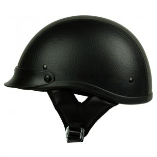 Black Leather Motorcycle Half Helmet Dot Approved Bike Harley Chopper