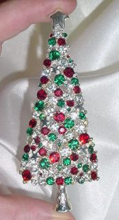 Stunning Huge Christmas Tree Pin Brooch Using Swarovski Crystals New