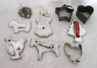 Lot of Vintage Metal Cookie Cutters Scottie Dog Santas Stars