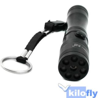 LED Flashlight Torch Red Laser Pointer Black Handy