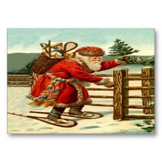 SANTA IN SNOWSHOES GIFTS TAG CARD BUSINESS CARD