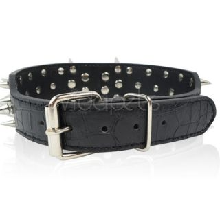 23 26 Black Leather Spiked Dog Collar Pitbull Bully Spikes Extra