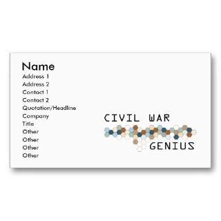 Civil War Business Cards, 205 Civil War Business Card Templates