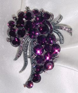 Classic Grape Style Pin Brooch with Swarovski Crystals
