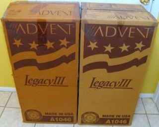Advent Legacy III Floor Standing Stereo Speakers Mint in Original Box