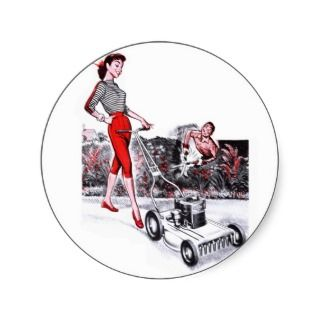 Kitsch Vintage Lawn Mower Pin Up Girl Round Sticker