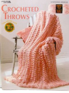 Leisure Arts Crocheted Throws Afghan Crochet Pattern Book Jiffy Yarn 8
