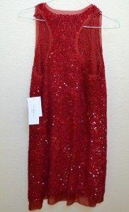 New Lela Rose Sequin Designer Tank Dress Size 8 Red Cardinal Looped