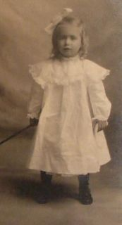 Antique Photo Girl Age 3 Name Leona Belle Cook Doll in Toy Wagon by