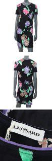 23723 Auth Leonard Black Cotton Short Sleeve Dress w Floral Print 42 L