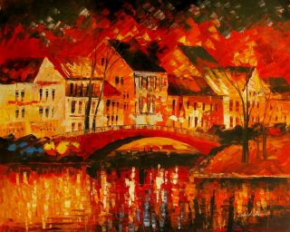 Leonid Afremov Fire of Passion Bridge Original Oil Painting on Canvas