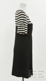 Nanette Lepore Black & White Striped Wool Pleated Sweater Dress Size