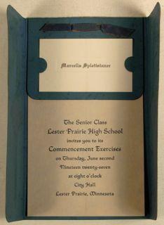 Lester Prairie High School MN 1927 Graduation Invitation