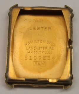1942 Hamilton Lester 19J Mens Wrist Watch 14k Goldfilled Tank Case 982