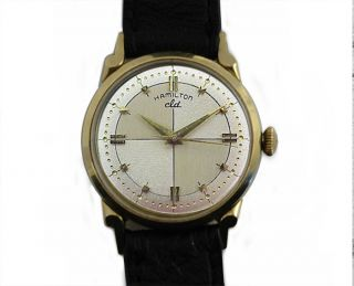 Hamilton CLD Vintage Mens 14k Gold Watch Tutone Dial Reardon