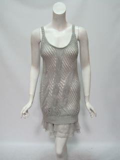 Free People Womens Silver Crochet Knit Sweater Tank Dress $168 New