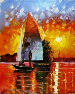 Leonid Afremov   Sunset on the Lake   Sail boat Original Oil Painting