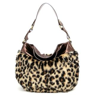 Fur Leopard Print Bronze Eliza Shoulder Bag Hobo Satchel Purse Handbag