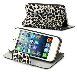 New Elegance Leopard Spot Leather Flip Cover w Hard Case for Apple