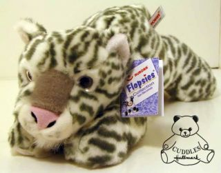 Leopold Snow Leopard Aurora Plush Toy Stuffed Animal Cat Laying