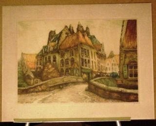 Limited Edition 1920s Signed Numbered Stone Lithograph