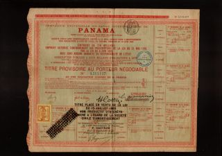 Canal Bond DD 1888 Ferd de Lesseps with 1 Tax Revenue Stamp