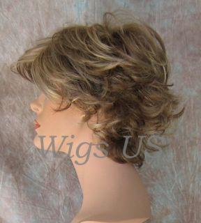 Wigs Dark Ash Blonde Mix Very Short Flip Curls w Bangs Wig