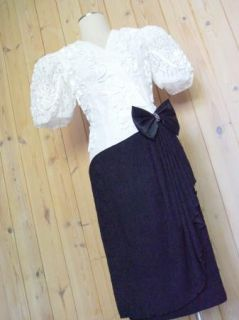 80s Leslie Fay Cockatil Party Gown Lace Sheath PUFF Sleeves Prom Sz M