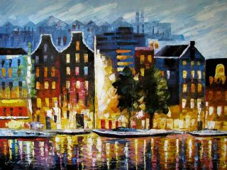 Leonid Afremov The Boats of Amsterdam Original Oil Painting on Canvas